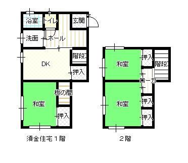 須金1階、2階間取り